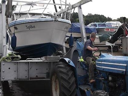 boat trailer in marina